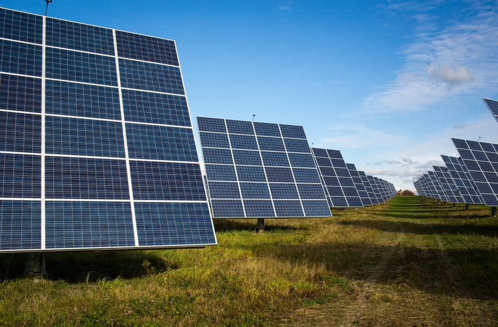 An array of 366 solar tracking devices stand in a field Oct. 31, 2014 in South Burlington, Vermont. (Robert Nickelsberg/Getty Images)