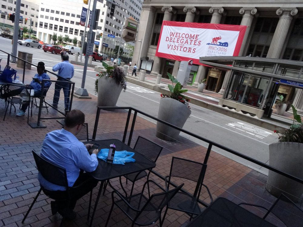 A sign welcomes visitors in downtown Cleveland, Ohio on July 14 2016, days before the city hosts the Republican National Convention. (Eva Hambach/AFP/Getty Images)