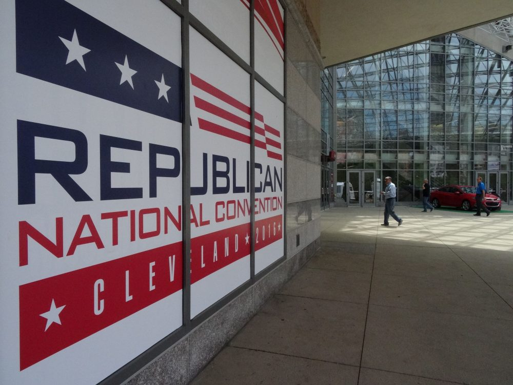 People walk into the Quicken Loans arena in downtown Cleveland, Ohio on July 14, 2016, days before the city hosts the Republican National Convention. (Eva Hambach/AFP/Getty Images)