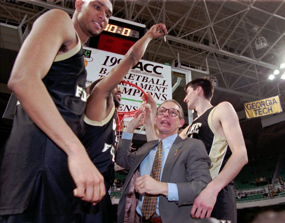 King, a Wake Forest alum, alerted his coach Dave Odom (right) to the talents of an lanky islander with uncommon humility. (AP Photo/Chuck Burton)