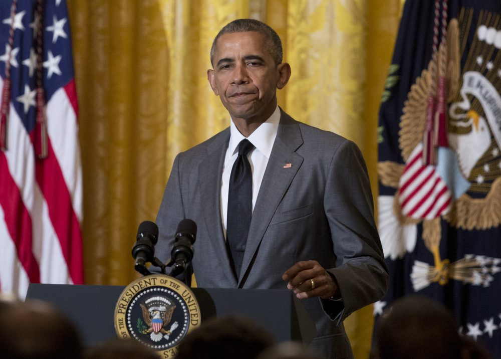 President Barack Obama pauses as he speaks about the attack in Nice, France, Friday, July 15, 2016, during a Diplomatic Corps Reception in the East Room of the White House in Washington. (Carolyn Kaster/AP)