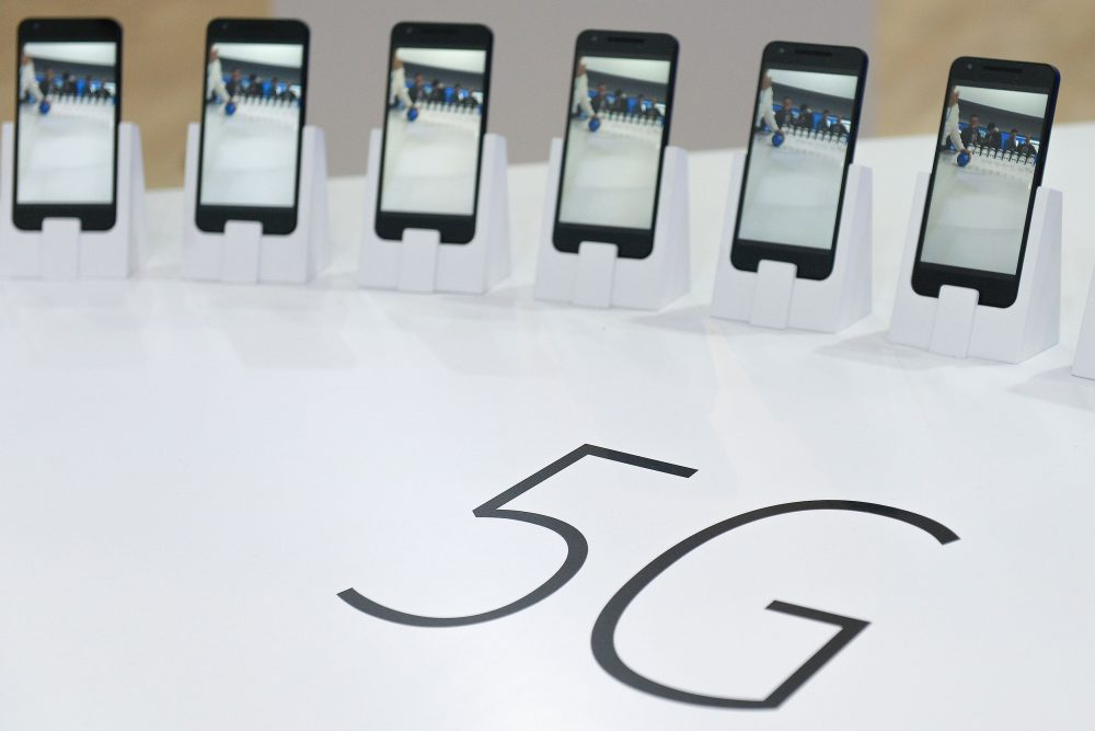 Mobile phones with 5G are displayed at the Mobile World Congress in Barcelona on February 22, 2016. (Josep Lago/AFP/Getty Images)