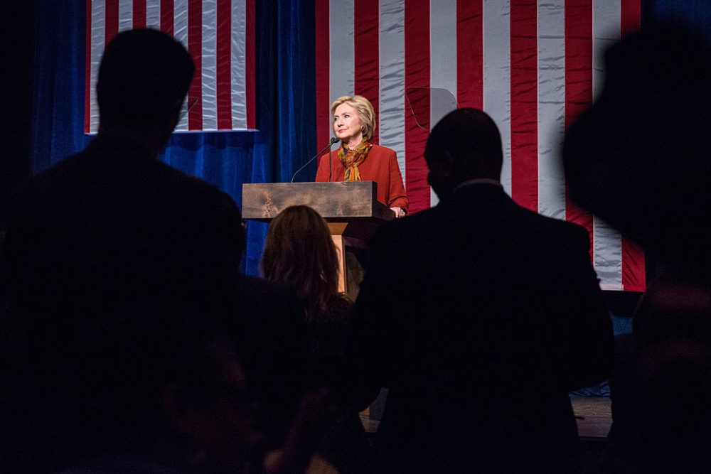 Democratic presidential candidate and former U.S. Secretary of State Hillary Clinton gives an address at the Schomburg Center for Research in Black Culture on February 16, 2016 in New York City. (Andrew Burton/Getty Images)
