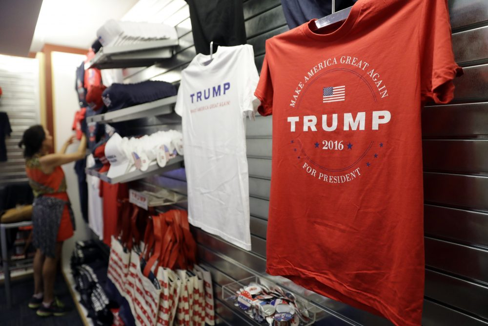 Trump campaign items are set up inside the Quicken Loans Arena for the Republican National Convention in Cleveland. (Matt Rourke/AP)