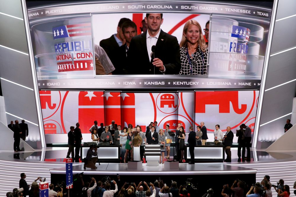 U.S. Speaker of the House Paul Ryan (R-WI) speaks during a microphone test along with his wife Janna Ryan (R) prior to the start of the Republican National Convention on July 17, 2016 at the Quicken Loans Arena in Cleveland, Ohio.(Alex Wong/Getty Images)