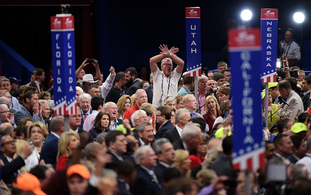 Delegates protest on the floor on the first day of the Republican National Convention on July 18, 2016 at the Quicken Loans Arena in Cleveland, Ohio. ( Jeff Swensen/Getty Images)
