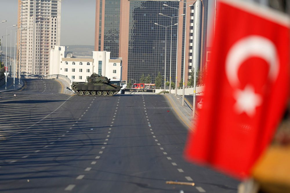 Turkish military's tanks is seen on the road to the Presidential Palace in Ankara July 16, 2016, Turkey. (Erhan Ortac/Getty Images)
