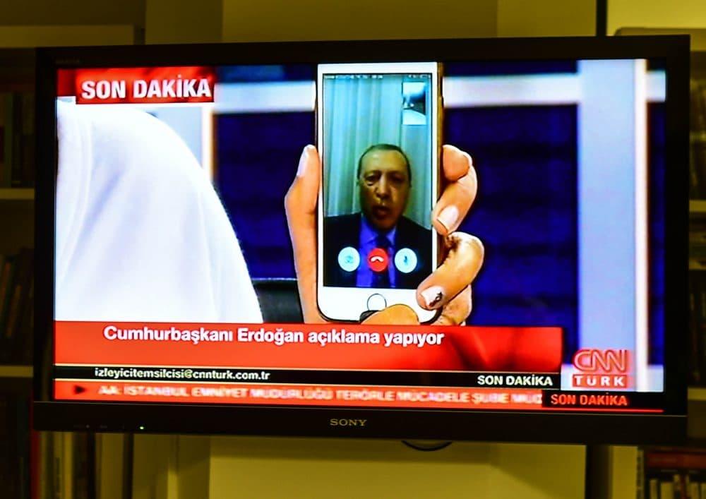 Turkish President Recep Tayyip Erdogan speaks on CnnTurk via facetime call in the early morning hours of July 16, 2016 in Istanbul, Turkey. (Burak Kara/Getty Images)
