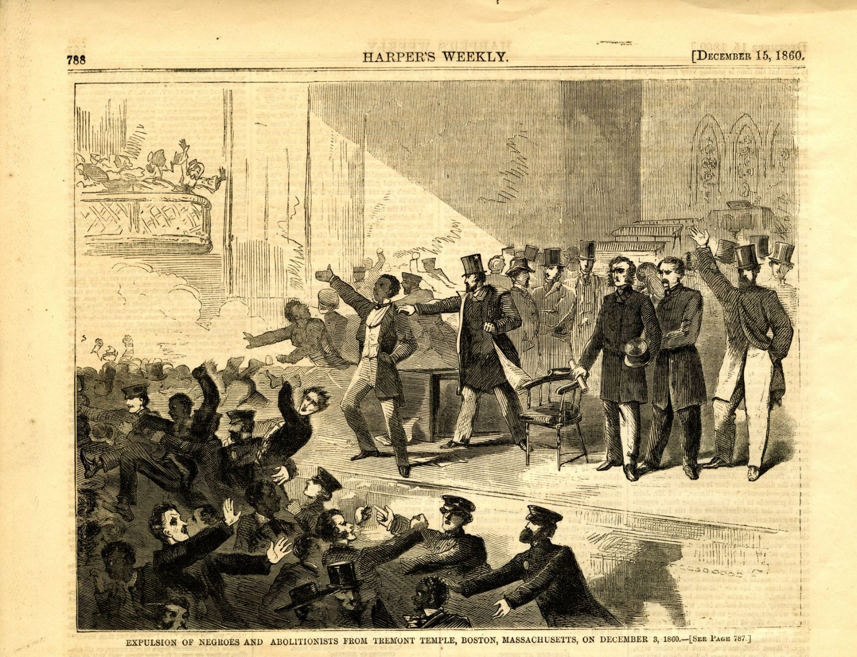 A clipping from Harper's Weekly depicting the expulsion of abolitionists from Tremont Temple in Boston in 1860. (Courtesy Museum of African American History)