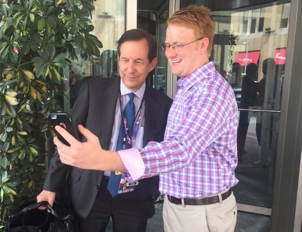 18 year old Will Carter, a delegate from George, meets his idol Chris Wallace of Fox News. (Brett Meyers/Youth Radio)