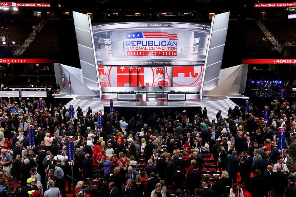 The stage is left empty after Republican National Committee Chairman Reince Priebus left the stage during protests on the floor on the first day of the Republican National Convention on July 18, 2016 at the Quicken Loans Arena in Cleveland, Ohio. (Alex Wong/Getty Images)
