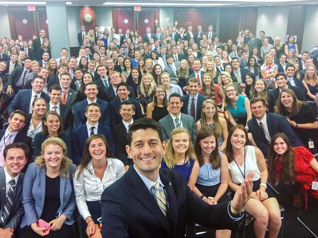 House Speaker Paul Ryan's Instagram photo of Capitol Hill interns has caused backlash on social media this week. (Courtesy Paul Ryan via Instagram)