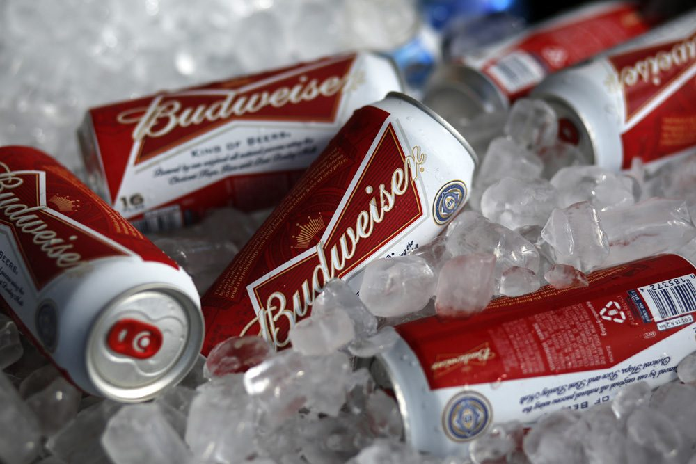 Budweiser beer cans are seen at a concession stand at McKechnie Field in Bradenton, Florida. (Gene J. Puskar/AP)
