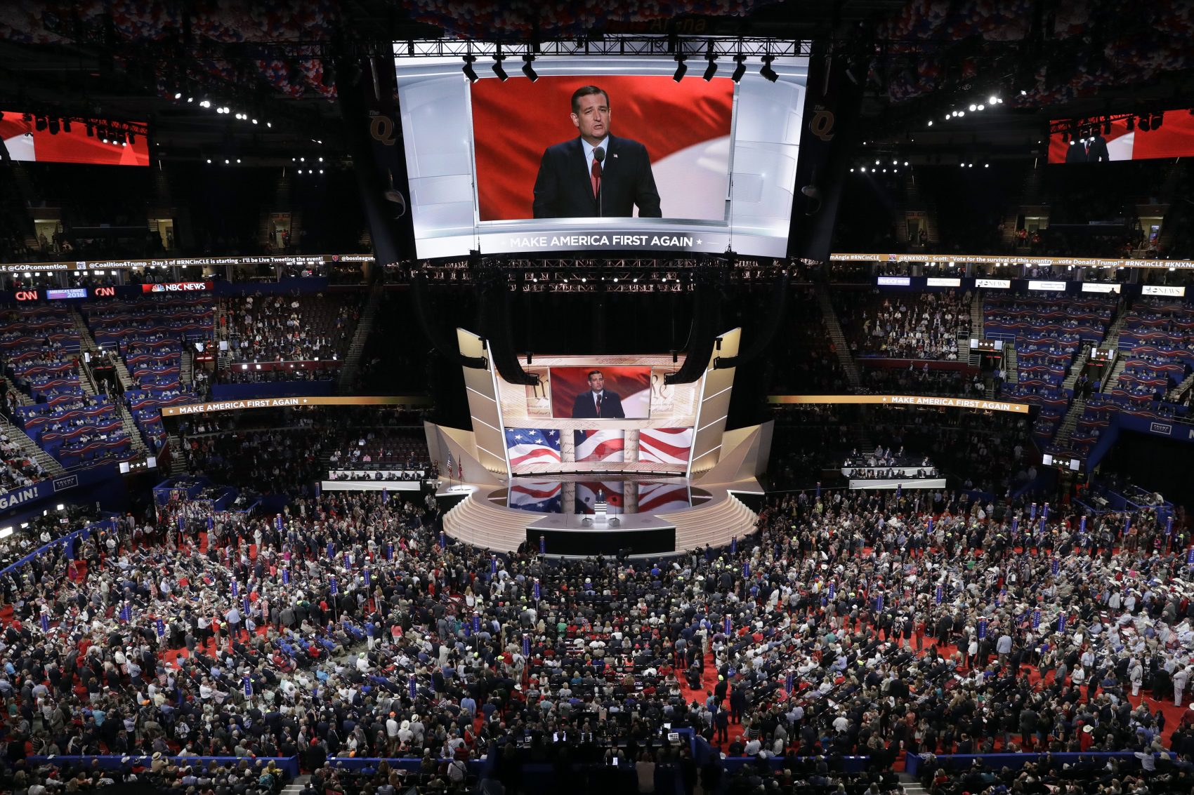 Sen. Ted Cruz, R-Tex., speaks during the third day session of the Republican National Convention in Cleveland, Wednesday, July 20, 2016. (John Locher/AP)