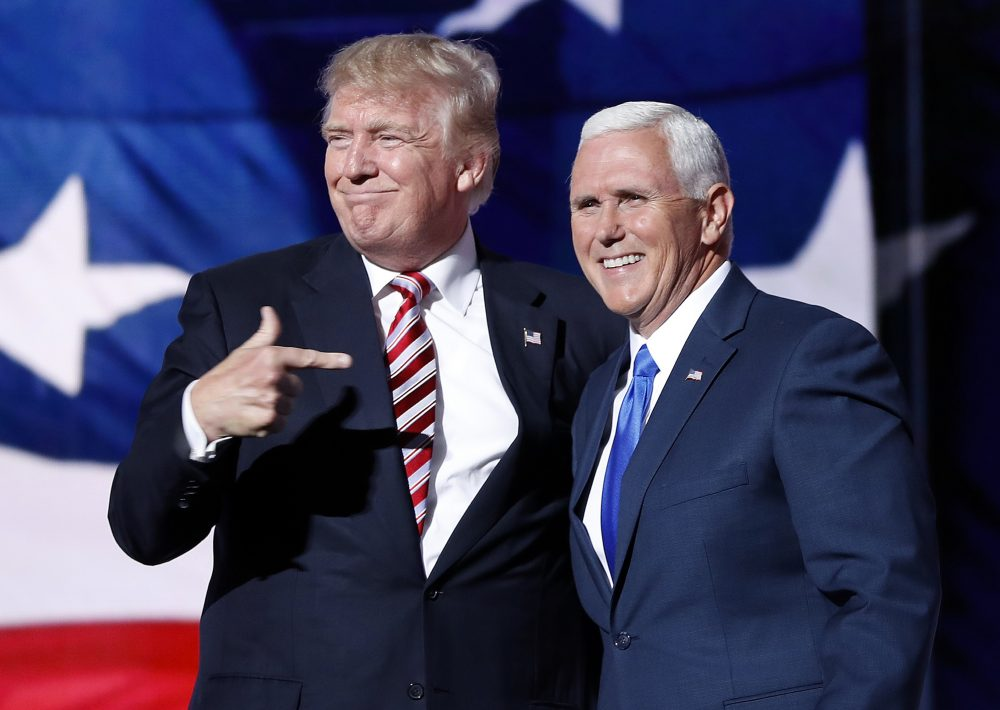 Republican presidential candidate Donald Trump with his VP pick Indiana Gov. Mike Pence during the third day at the RNC. (Mary Altaffer/AP)