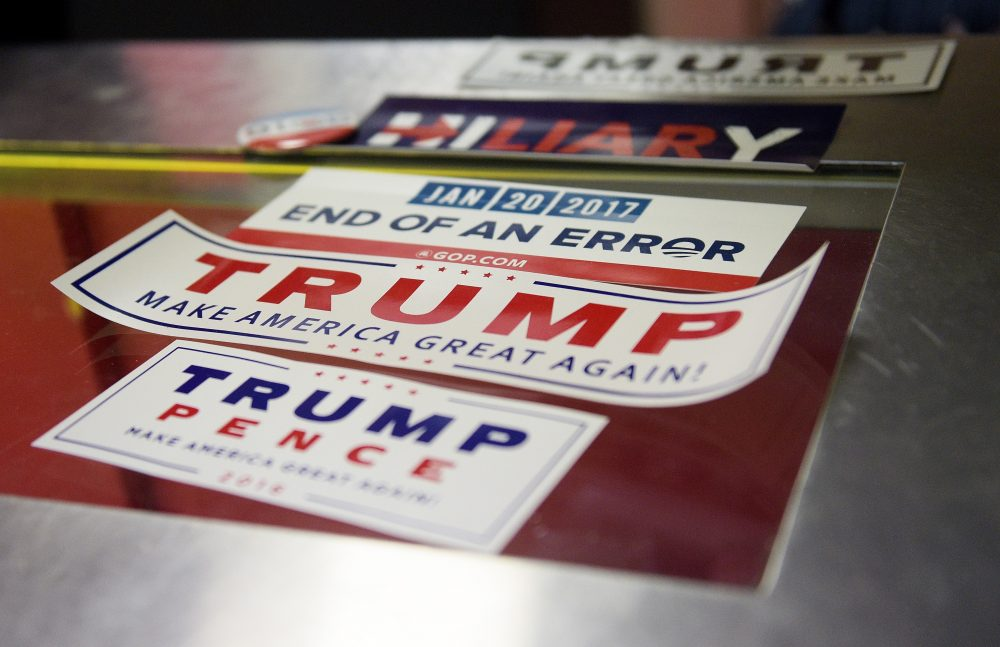 Campaign memorabilia seen prior to the start of the fourth day of the Republican National Convention on July 21, 2016 at the Quicken Loans Arena in Cleveland, Ohio. (Jeff Swensen/Getty Images)