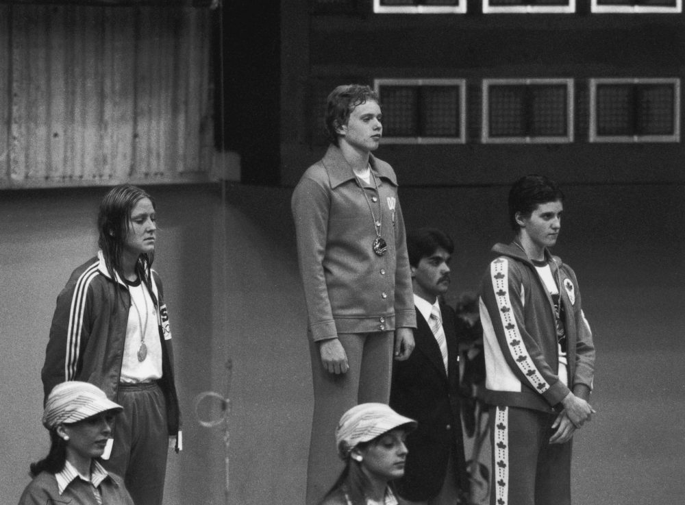 Shirley Babashoff (left) won four silver medals at the 1976 Montreal Olympics. Years later, it was proven that her East German opponents had been doping. (Keystone/Hulton Archive/Getty Images)