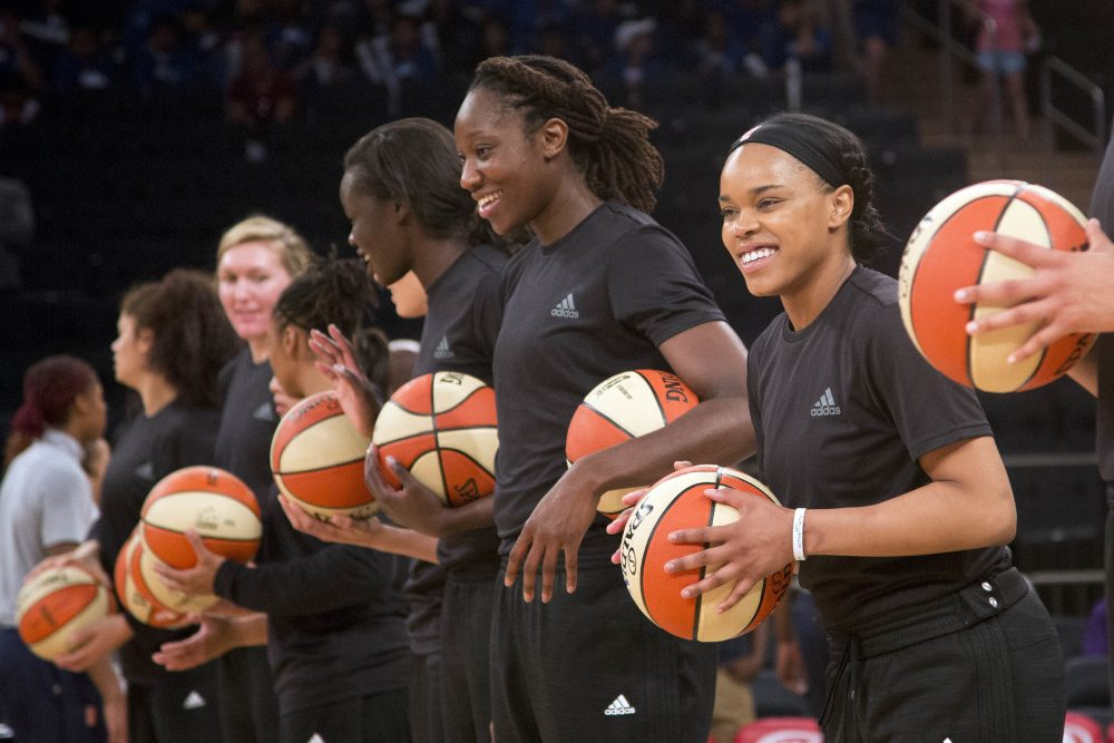 Members of the New York Liberty were among those in the WNBA to make a political statement by way of uniform alterations. (Mark Lennihan/AP)