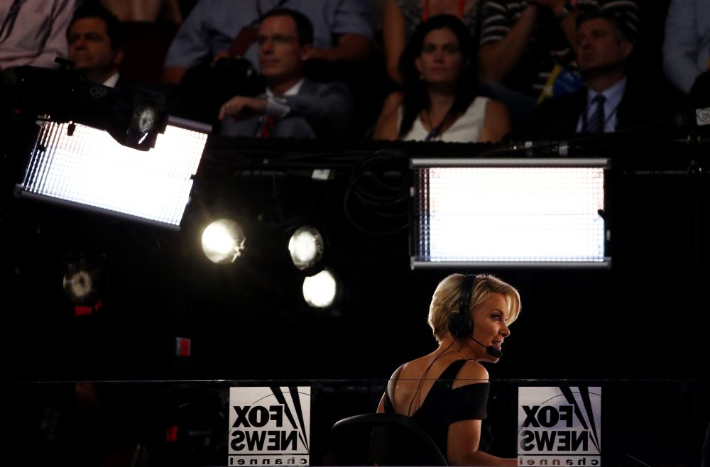 Fox News political commentator Megyn Kelly reports during the evening session on the fourth day of the Republican National Convention on July 21, 2016 at the Quicken Loans Arena in Cleveland, Ohio. (Win McNamee/Getty Images)