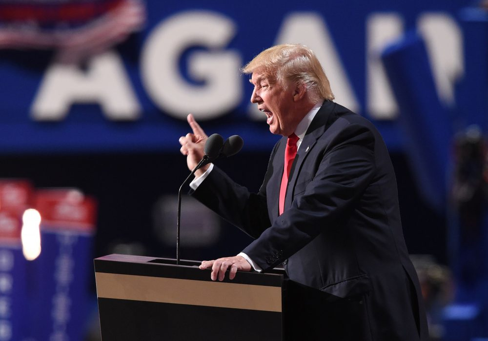 Republican presidential candidate Donald Trump addresses the final night of the Republican National Convention at Quicken Loans Arena in Cleveland, Ohio, July 21, 2016. (Robyn Beck/AFP/Getty Images)