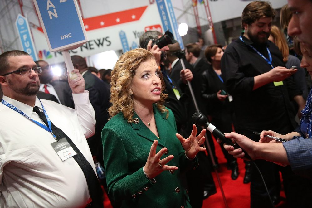 Representative Debbie Wasserman Schultz (D-FL 23rd District) and chair of the Democratic National Committee (DNC) speaks to reporters in the spin room after watching tonight's democratic presidential debate at the Gaillard Center on January 17, 2016 in Charleston, South Carolina. Democratic presidential hopefuls Hillary Clinton, Bernie Sanders and Martin O'Malley spent yesterday campaigning in South Carolina in lead up to tonight's debate.  (Andrew Burton/Getty Images)