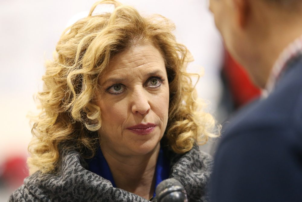 U.S. Representative Debbie Wasserman Schultz (D-FL 23rd District) and chair of the Democratic National Committee (DNC) speaks to a reporter before the democratic debate on December 19, 2015 in Manchester, New Hampshire. The DNC has been criticized for the timing of democratic debates during the 2016 presidential race.  (Andrew Burton/Getty Images)
