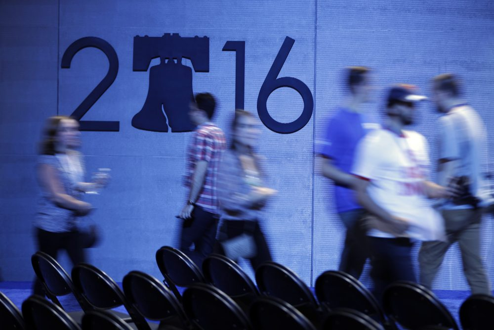People move about the Wells Fargo Center on Sunday ahead of the 2016 Democratic National Convention in Philadelphia. (Matt Rourke/AP)