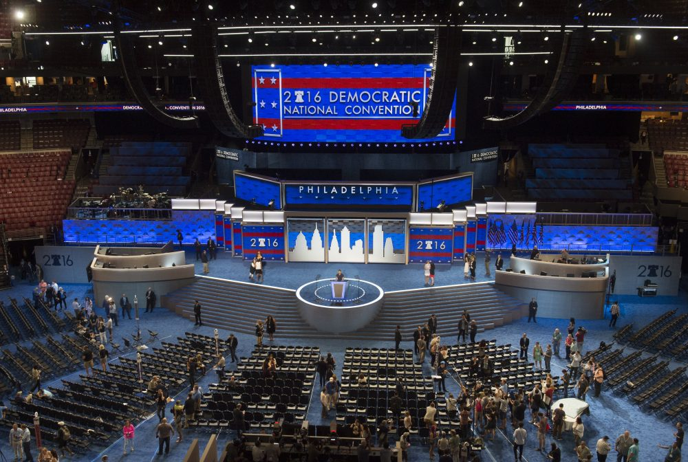 Workers prepare the stage at the Democratic National Convention at the Wells Fargo Center in Philadelphia, Pennsylvania, July 24, 2016. (Saul Loeb/AFP/Getty Images)
