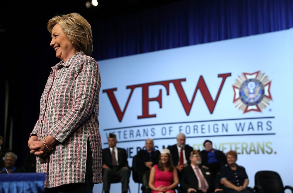 Democratic presidential candidate former Secretary of State Hillary Clinton speaks at the 117th National Convention of Veterans of Foreign Wars on July 25, 2016 in Charlotte, North Carolina.  (Justin Sullivan/Getty Images)