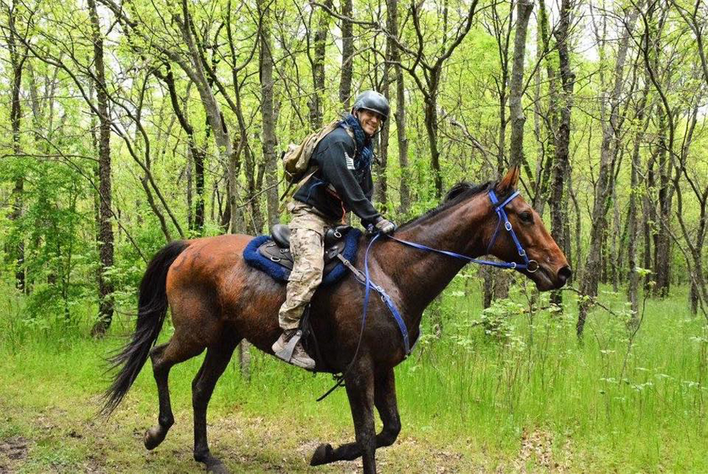 Tim Finley, a captain in the U.S. Air Force, riding his horse, Honor. Finley is competing in this year's Mongol Derby, an equestrian endurance race. (Courtesy of Tim Finley via Facebook)