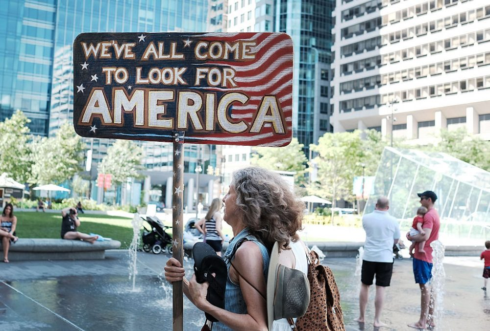 Bernie Sanders supporters gather in a public plaza before the start of the Democratic National Convention (DNC) on July 24, 2016 in Philadelphia, Pennsylvania. The convention officially begins on Monday and is expected to attract thousands of protesters, members of the media and Democratic delegates to the City of Brotherly Love.  (Spencer Platt/Getty Images)
