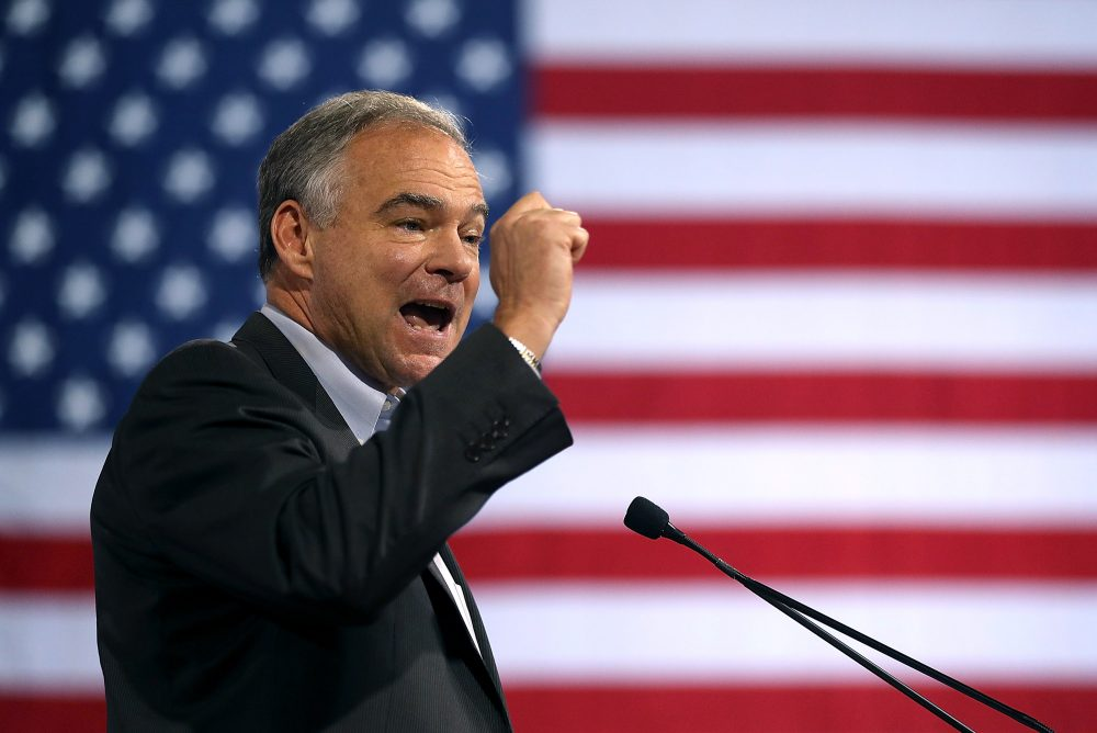 Democratic vice presidential candidate U.S. Sen. Tim Kaine (D-VA) speaks during a campaign rally with Democratic presidential candidate former Secretary of State Hillary Clinton at Florida International University's Panther Arena on July 23, 2016 in Miami, Florida. (Justin Sullivan/Getty Images)