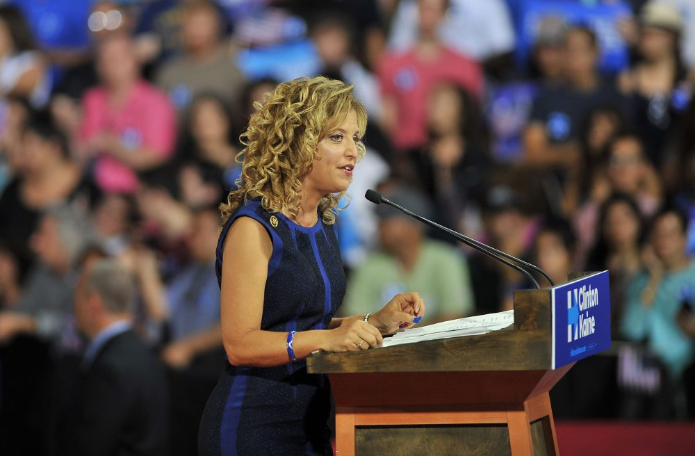 Democratic National Committee Chair, Congresswoman Debbie Wasserman Schultz of Florida addresses a campaign rally for Democratic presidential candidate Hillary Clinton and running mate Tim Kaine at Florida International University in Miami, Florida, July 23, 2016.  Embattled Democratic Party chair Debbie Wasserman Schultz said July 24, 2016 she is resigning, following a leak of emails suggesting an insider attempt to hobble the campaign of Hillary Clinton's rival in the White House primaries Bernie Sanders. (GASTON DE CARDENAS/AFP/Getty Images)