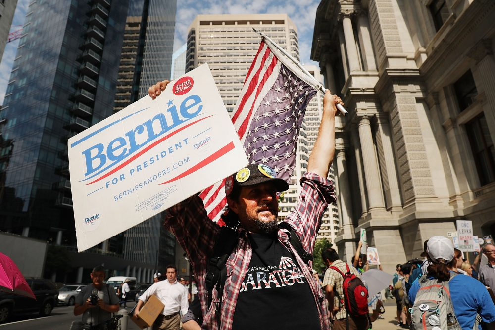 Bernie Sanders supporters prepare to march through downtown on the first day of the Democratic National Convention (DNC) on July 25, 2016 in Philadelphia, Pennsylvania. The convention is expected to attract thousands of protesters, members of the media and Democratic delegates to the City of Brotherly Love.  (Spencer Platt/Getty Images)