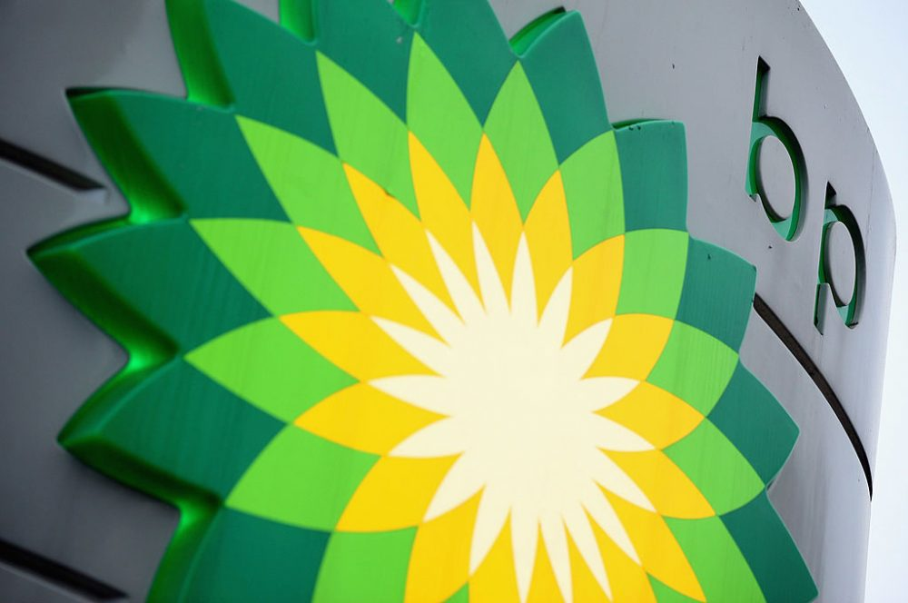 The sign for a BP filling station in Westminster on February 1, 2011 in London, England. (Oli Scarff/Getty Images)