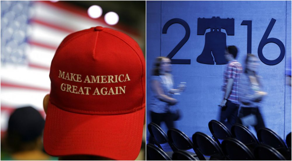 The conventions in Cleveland and Philadelphia have a few things in common -- along with some key differences. (AP)