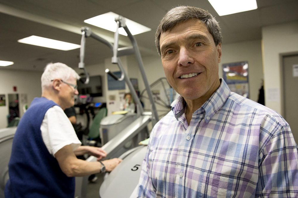 Wayne Westcott, 67, professor of exercise science, at the Quincy College gym (Robin Lubbock/WBUR)