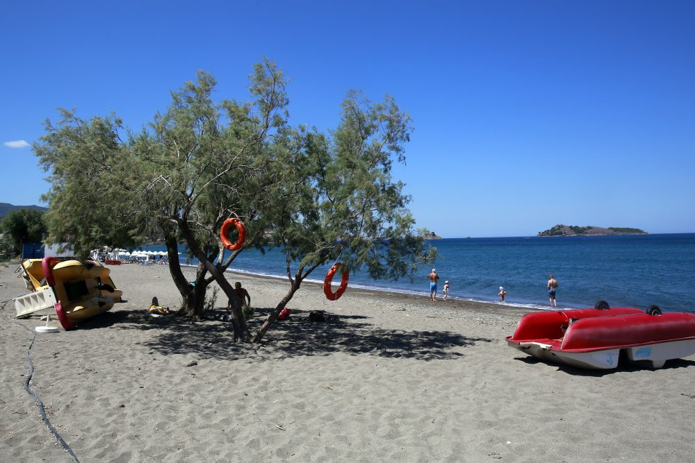Old life preservers hang from a tree as tourists enjoy the water on an almost empty beach in Petra town on July 20, 2016 on Lesvos island  Greece. The increase in refugees arriving on the island of Lesvos last year has seriously effected tourism, with the number of tourists falling more than 70% this year so far. (Milos Bicanski/Getty Images)
