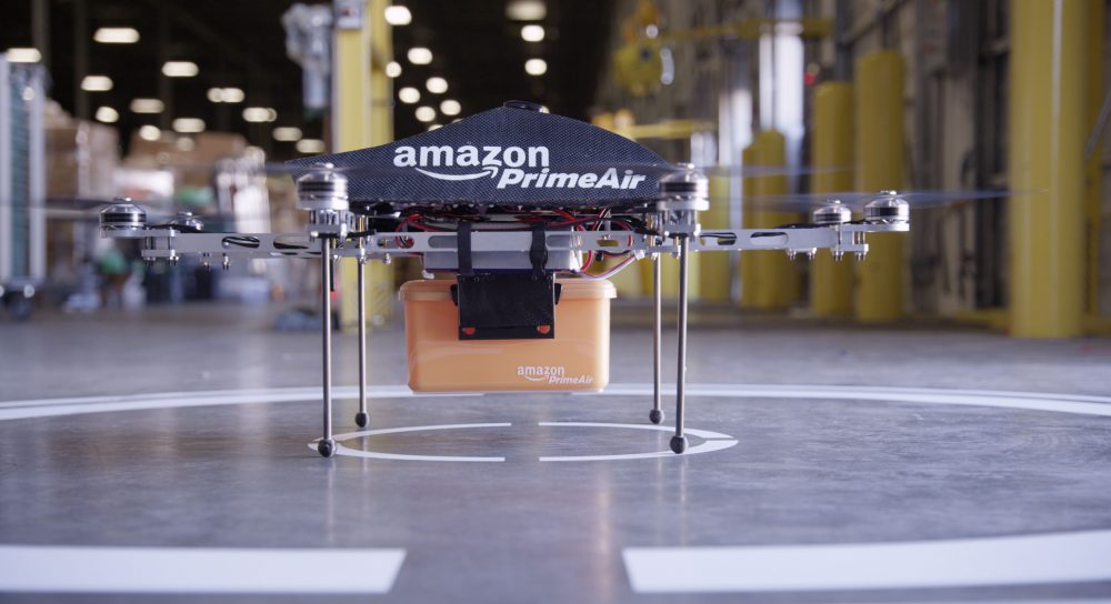 An Amazon Prime Air drone. The American company announced a partnership with the British government to test unmanned drones for delivering Amazon packages. (Courtesy of Amazon)