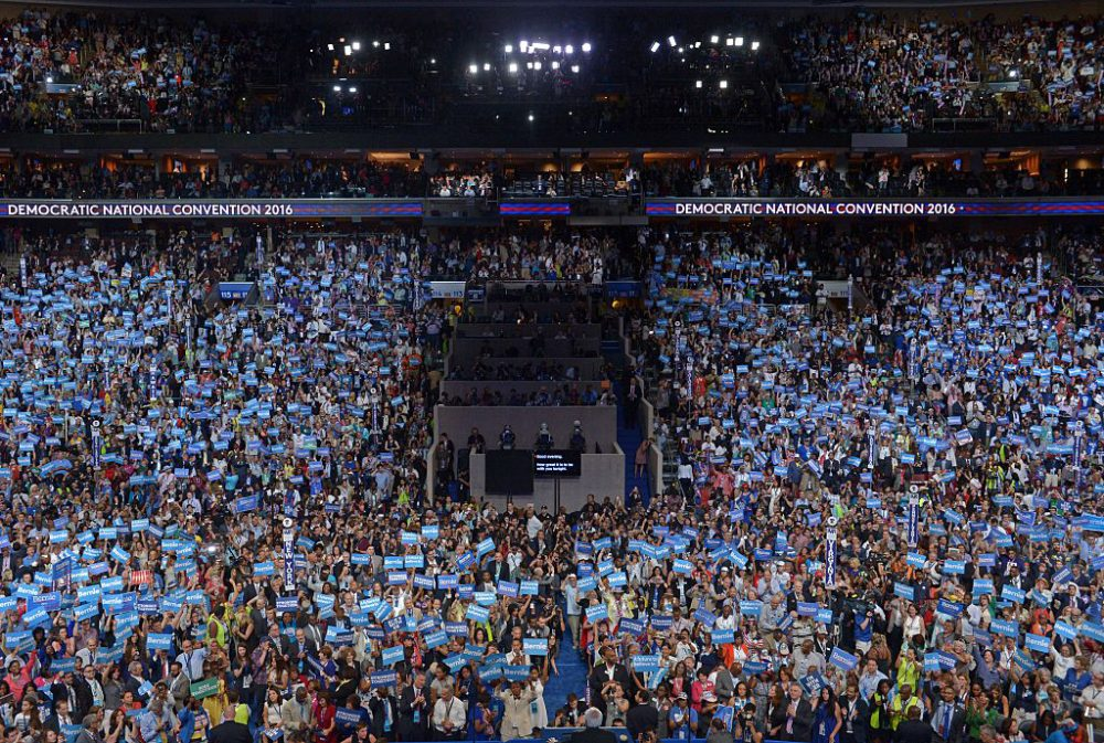 Sen. Bernie Sanders addresses delegates on day one of the Democratic National Convention at the Wells Fargo Center in Philadelphia, Pennsylvania, July 25, 2016. (Brendan SmialowskiI/AFP/Getty Images)