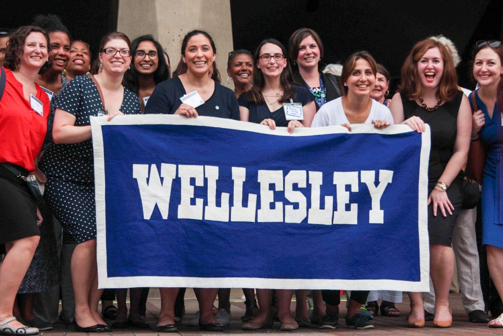 Women at the Philadelphia Wellesley College Club celebrate Hillary Clinton's nomination. (Samantha Fields/Here & Now)