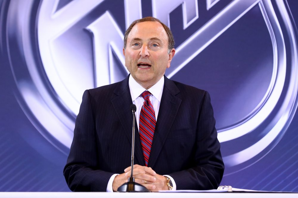 National Hockey League Commissioner Gary Bettman addresses the media during the Board Of Governors Press Conference prior to the 2016 NHL Awards at Encore Las Vegas on June 22, 2016 in Las Vegas, Nevada. (Bruce Bennett/Getty Images)
