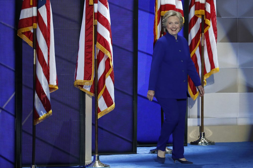 Democratic presidential nominee Hillary Clinton walks on stage after President Obama's speech at the DNC in Philadelphia. (J. Scott Applewhite/AP)