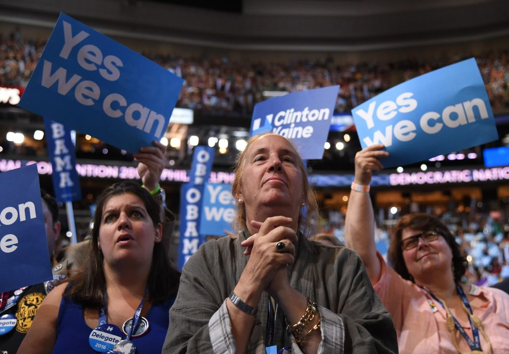 Delegates look on as President Barack Obama speaks during the third night of the Democratic National Convention at the Wells Fargo Center in Philadelphia on July 27, 2016. (Robyn Beck/AFP/Getty Images)