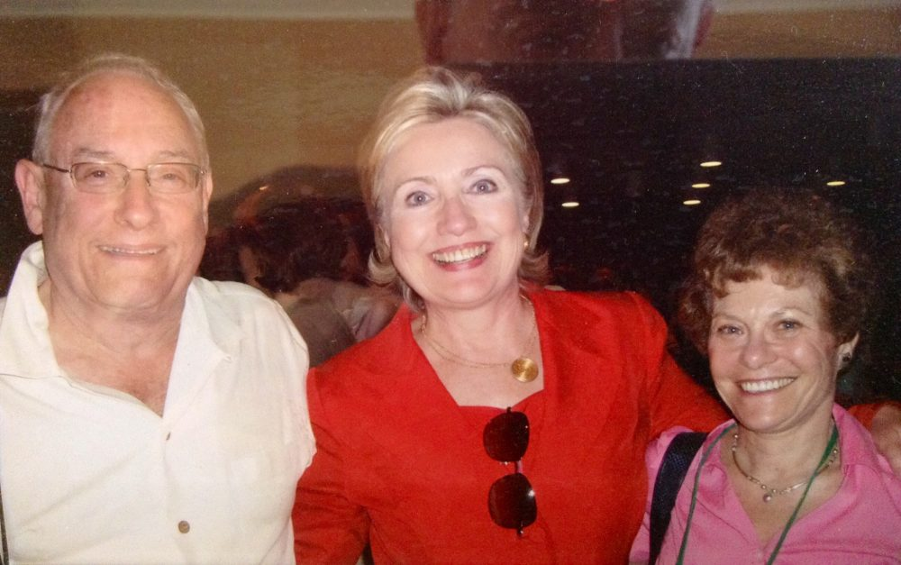 Bill Mayer, Hillary Clinton and Suzanne Salomon at a Wellesley College reunion in 2004. (Courtesy of Suzanne Salomon and Bill Mayer)