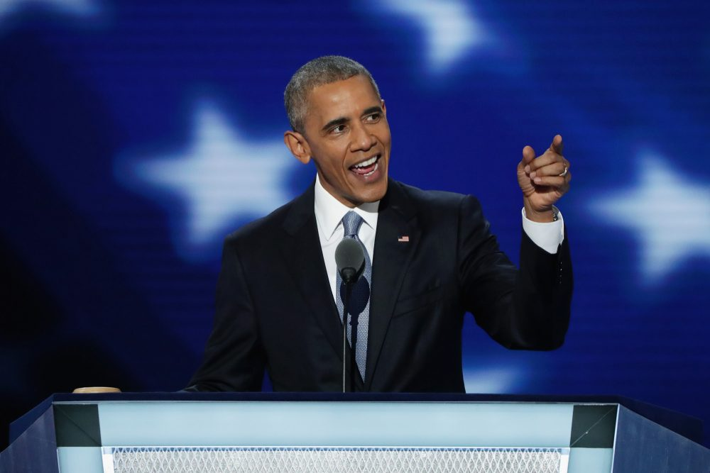 President Barack Obama delivers remarks on the third day of the Democratic National Convention at the Wells Fargo Center on July 27, 2016 in Philadelphia. (Alex Wong/Getty Images)