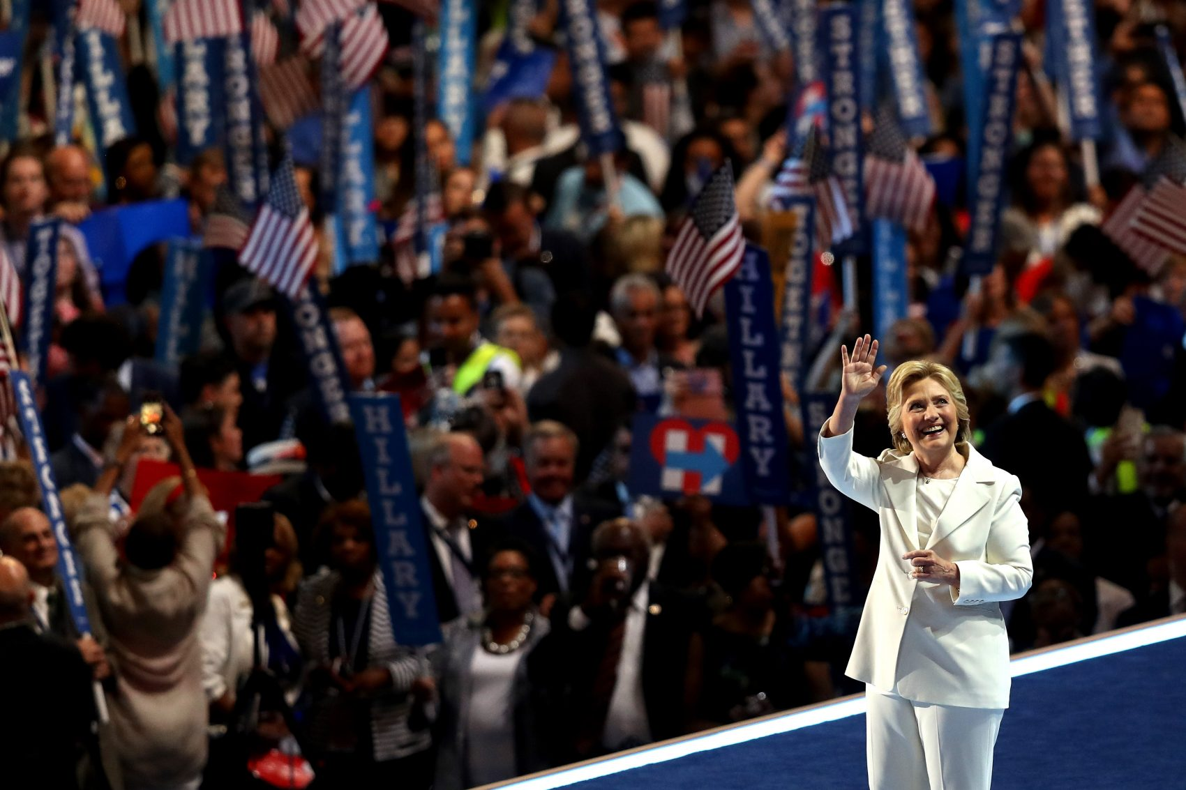 Democratic presidential nominee Hillary Clinton acknowledges the crowd at the end on the fourth day of the Democratic National Convention at the Wells Fargo Center, July 28, 2016 in Philadelphia. (Joe Raedle/Getty Images)