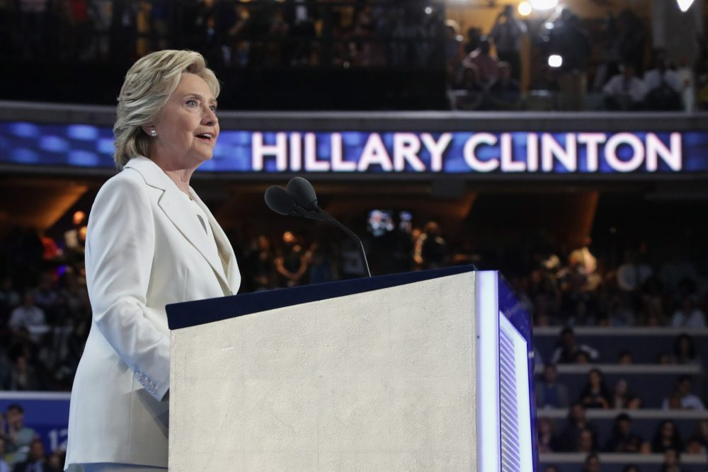Democratic presidential candidate Hillary Clinton delivers remarks during the fourth day of the Democratic National Convention Thursday in Philadelphia. (Chip Somodevilla/Getty Images)