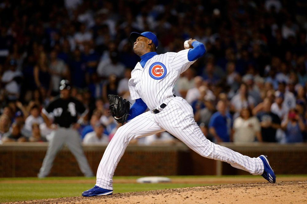Aroldis Chapman makes the already-fancied Cubs certain favorites for the World Series this year. (Jon Durr/Getty Images)