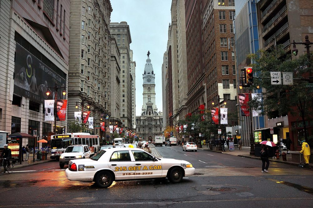 A cab drives through Philadelphia's downtown area on Oct. 22, 2014. (Spencer Platt/Getty Images)